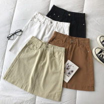 skirt Summer 2021 S,M,L Black, white, apricot, caramel Short skirt commute High waist Solid color Type A 18-24 years old 51% (inclusive) - 70% (inclusive) pocket Korean version