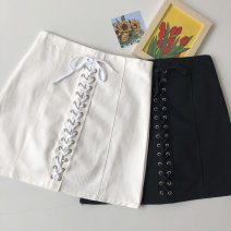 skirt Summer 2021 S,M,L Black, white Short skirt commute High waist Solid color Type A 18-24 years old 51% (inclusive) - 70% (inclusive) Frenulum Korean version