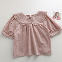 shirt Average size Summer 2021 other 51% (inclusive) - 70% (inclusive) Short sleeve commute Short style (40cm < length ≤ 50cm) Doll Collar Single row two buttons Solid color 18-24 years old Straight cylinder Korean version Lace