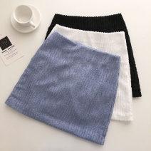 skirt Summer 2021 S,M,L Blue, white, black Short skirt commute High waist Type A 18-24 years old 51% (inclusive) - 70% (inclusive) zipper Korean version