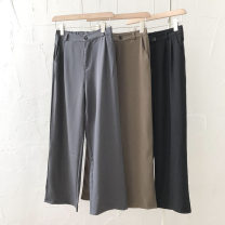 Casual pants Black, coffee, grey blue M, L Summer 2021 trousers Straight pants High waist commute routine 18-24 years old 51% (inclusive) - 70% (inclusive) Korean version