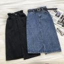 skirt Autumn 2020 S,M,L Black, blue longuette commute High waist Denim skirt Solid color Type A 18-24 years old Denim cotton pocket