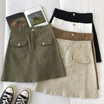 skirt Spring 2021 S,M,L Black, white, green, apricot, brown Short skirt commute High waist Solid color Type A 18-24 years old 51% (inclusive) - 70% (inclusive) pocket Korean version