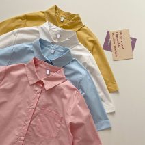 shirt Pink, blue, white, yellow Average size Summer 2021 other 51% (inclusive) - 70% (inclusive) Short sleeve commute Medium length Polo collar Single row multi button Solid color 18-24 years old Straight cylinder Korean version Button, pocket