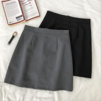 skirt Autumn of 2019 S,M,L Gray, black Short skirt commute High waist A-line skirt Solid color Type A 18-24 years old Korean version
