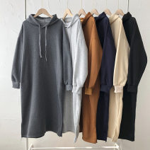 Sweater / sweater Winter 2020 Black, dark gray, light gray, sapphire blue, apricot, dark brown Average size Long sleeves Medium length Socket singleton  thickening Hood easy commute Solid color 18-24 years old 51% (inclusive) - 70% (inclusive) Korean version pocket