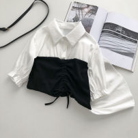 shirt white Average size Summer 2021 other 51% (inclusive) - 70% (inclusive) Short sleeve commute Regular Polo collar Socket Solid color 18-24 years old Straight cylinder Korean version Splicing