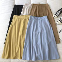 skirt Summer 2021 Average size Bright yellow, blue, apricot, black, brown longuette commute High waist Solid color Type A 18-24 years old 51% (inclusive) - 70% (inclusive) zipper Korean version
