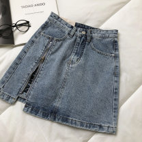skirt Spring 2021 S,M,L blue Short skirt commute High waist Solid color Type A 18-24 years old 51% (inclusive) - 70% (inclusive) Button Korean version