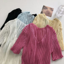 Wool knitwear Summer 2021 Average size Rose red, white, apricot, lake blue, black Short sleeve singleton  Socket other 51% (inclusive) - 70% (inclusive) have cash less than that is registered in the accounts commute Self cultivation V-neck Solid color Socket Korean version 18-24 years old