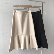 skirt Spring 2021 S,M,L Black, apricot Mid length dress commute High waist Solid color Type A 18-24 years old 51% (inclusive) - 70% (inclusive) Lotus leaf edge Korean version