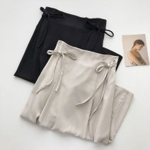 skirt Summer 2021 S,M,L Black, apricot, blue Mid length dress commute High waist Solid color Type A 18-24 years old 51% (inclusive) - 70% (inclusive) Bandage Korean version