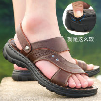 Sandals Black, brown, yellowish brown 38,39,40,41,42,43,44 Chengfa Sleeve Cattle hide (except cattle suede) Beach shoes summer sandy beach leisure time polyurethane ventilation Cf10135 Injection pressure shoes Summer 2020 Two layer pigskin