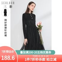 Dress Spring 2021 black 170/92A/XL,165/88A/L,155/80A/S,175/96A/2XL,160/84A/M Mid length dress singleton  Long sleeves commute Crew neck High waist Socket Big swing routine 25-29 years old Type X Tricolor Simplicity Diamond inlay D361A1023M60 51% (inclusive) - 70% (inclusive) other acrylic fibres
