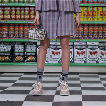 skirt Autumn of 2019 XS S M L XL Grey and pink Short skirt commute Natural waist A-line skirt lattice Type A 18-24 years old M1932A2061 Manor bieffe