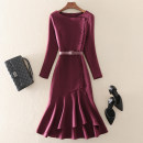 Dress Spring 2021 Purplish red S,M,L,XL,2XL Mid length dress singleton  Nine point sleeve street Crew neck middle-waisted Solid color zipper other routine Others 30-34 years old Type A left lady Zipper, belt More than 95% other other Europe and America