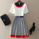 Dress Spring 2021 white S,M,L,XL,2XL Mid length dress singleton  Short sleeve street Crew neck middle-waisted other zipper A-line skirt routine Others 30-34 years old Type A left lady Panel, zipper L1903044 More than 95% other other Europe and America