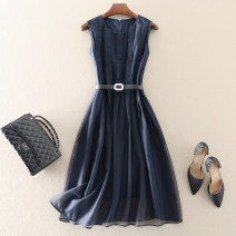 Dress Spring 2021 Blue, green S,M,L,XL Mid length dress singleton  Sleeveless street Crew neck middle-waisted Solid color zipper Big swing routine Others 30-34 years old Type A left lady Mesh, zipper, belt L2004154 More than 95% other other Europe and America
