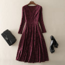 Dress Spring 2021 claret S,M,L,XL,2XL Mid length dress singleton  Long sleeves street V-neck middle-waisted Abstract pattern zipper A-line skirt routine Others 30-34 years old Type A left lady Zipper, lace L1808018 More than 95% other other Europe and America