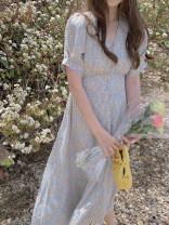 Dress Summer 2021 blue Average size Mid length dress singleton  Short sleeve V-neck High waist Decor Socket Type X Button, zipper