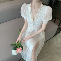 Dress Summer 2021 Musk apricot S, M Mid length dress singleton  Short sleeve commute V-neck High waist Solid color Socket A-line skirt routine Others 25-29 years old Type A Korean version 1609# More than 95% Chiffon