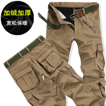 Casual pants Others Fashion City 28,29,30,31,32,33,34,36,38,40 Plush and thicken trousers motion easy No bullet winter youth Youthful vigor 2018 middle-waisted Straight cylinder Overalls Pocket decoration No iron treatment Solid color cotton cotton Fashion brand