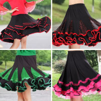 Square dance skirt 019a Sequin skirt 021 big red Sequin skirt 019-1 rose red mesh skirt 019-1 big red mesh Skirt Blue 021 Sequin skirt rose red 021 Sequin skirt green 021 Sequin skirt M L XL 2XL 3XL 4XL 5XL Middle-skirt Elastic waist show female easy Shredded milk Dot Bright wire stitching drill yes