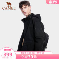 Jacket Camel other XXL XXXL S M L XL routine standard outdoors spring Polyester 100% Long sleeves Wear out Hood neutral male routine Zipper placket Straight hem PU coating for seam pressing Regular sleeve Solid color polyester fiber Spring 2021 Embroidery Three dimensional bag polyester fiber