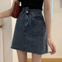 skirt Spring 2021 S,M,L,XL Blue, black Short skirt commute High waist A-line skirt Solid color Type A 18-24 years old Korean version