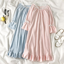 Nightdress Other / other Pink, light blue Average size Sweet Long sleeves pajamas longuette winter Solid color youth Crew neck lace ten point one six