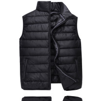 Vest / vest Business gentleman Other leisure easy Cotton vest thick autumn stand collar youth 2020 Business Casual Geometric pattern zipper Cloth hem other No iron treatment Bright side Silk like cotton Brocade polyester Thread embedding and bag digging Silk like cotton