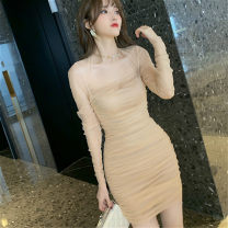 Dress Spring 2021 Apricot S,M,L Short skirt singleton  Long sleeves commute square neck middle-waisted Solid color zipper One pace skirt routine Others 25-29 years old Type H Korean version Open back, fold, gauze net More than 95% other other