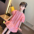 Dress Summer 2020 Watermelon red 110cm,120cm,130cm,140cm,150cm,160cm Mid length dress singleton  Short sleeve commute Crew neck Loose waist Solid color Socket Princess Dress puff sleeve Under 17 Other / other Korean version More than 95% cotton