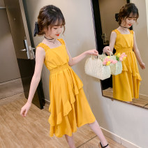 Dress Summer 2020 Yellow, pink 110cm,120cm,130cm,140cm,150cm,160cm longuette singleton  Sleeveless Sweet square neck Elastic waist Solid color Princess Dress camisole Under 17 Type A Other / other More than 95% Chiffon polyester fiber princess