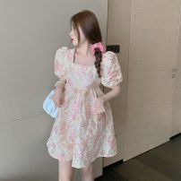 Dress Summer 2020 Picture color Average size Middle-skirt singleton  Short sleeve commute square neck High waist Socket puff sleeve 18-24 years old Type A Korean version polyester fiber