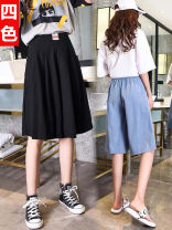 Casual pants Black, white, pink, light blue S,M,L,XL,2XL Summer 2020 shorts Wide leg pants High waist commute Thin money 18-24 years old 96% and above Cotton blended fabric Korean version cotton