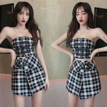 Fashion suit Summer 2020 S,M,L We sell Plaid bra and plaid skirt 18-25 years old three point one eight 51% (inclusive) - 70% (inclusive) cotton