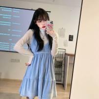 Dress Winter 2020 With high collar and blue velvet skirt Average size