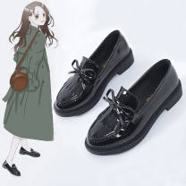 Low top shoes 35,36,37,38,39,40 Other / other Black tassel, black smooth plate button Round head PU Flat bottom Low heel (1-3cm) Deep mouth polyester Summer 2021 Britain Single shoes bow