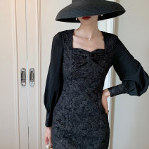 Dress Autumn 2020 black S,M,L Mid length dress singleton  Long sleeves square neck High waist Decor Socket A-line skirt routine Others Type A 81% (inclusive) - 90% (inclusive) other other