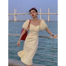 Dress Spring 2021 Cream apricot , Hepburn black S,M,L Short skirt singleton  Long sleeves street V-neck High waist Solid color Socket other puff sleeve Others Type A 81% (inclusive) - 90% (inclusive) other other