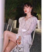 Dress Spring 2021 Lace white S,M,L,XL Mid length dress singleton  Long sleeves commute V-neck High waist puff sleeve 18-24 years old Other / other Retro Lace