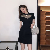 Women's large Autumn 2020 black Large L, s, M Dress singleton  commute Short sleeve Solid color Crew neck 18-24 years old