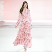 Dress Spring 2021 Pink S,M,L,XL longuette singleton  Long sleeves Sweet V-neck High waist Dot zipper Cake skirt bishop sleeve Others Type X Lace, lace, zipper, print baisechangqun More than 95% brocade polyester fiber princess