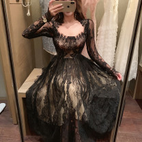 Dress Autumn 2020 Black long, black short S,M,L longuette singleton  Long sleeves commute square neck High waist Solid color zipper Princess Dress routine Others Type A Korean version Hollowed out, gauze net, zipper, lace Lace