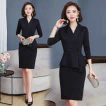 Dress Winter of 2019 black S,M,L,XL,2XL longuette singleton  Long sleeves commute tailored collar High waist Solid color zipper One pace skirt routine Others 25-29 years old Type H Korean version Ruffle, stitching, three-dimensional decoration, zipper 31% (inclusive) - 50% (inclusive) other nylon
