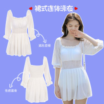 one piece  Fan Shidu XL,L,M white Skirt one piece With chest pad without steel support female Middle sleeve Casual swimsuit Solid color Hollowing out