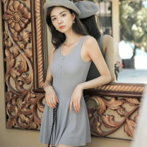one piece  Fan Shidu M,L,XL grey Skirt one piece With chest pad without steel support female Sleeveless Casual swimsuit Solid color rivet