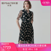 Dress Summer 2020 black 36 38 40 42 44 Mid length dress singleton  Short sleeve other Socket other routine 30-34 years old Type X Psalter / poem More than 95% polyester fiber Polyester 100% Same model in shopping mall (sold online and offline)