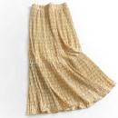 skirt Spring 2021 Average size Black, yellow Mid length dress Versatile High waist A-line skirt Broken flowers Type A 045-027 91% (inclusive) - 95% (inclusive) Chiffon polyester fiber